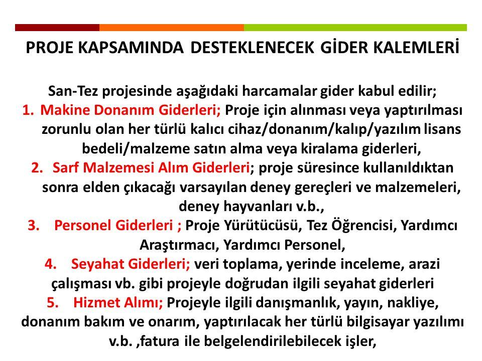 PROJE KAPSAMINDA DESTEKLENECEK GİDER KALEMLERİ