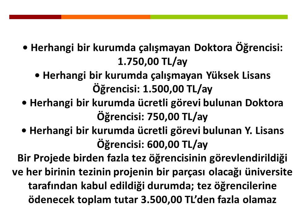• Herhangi bir kurumda çalışmayan Doktora Öğrencisi: 1.750,00 TL/ay