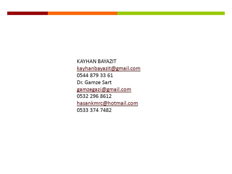 KAYHAN BAYAZIT kayhanbayazit@gmail.com. 0544 879 33 61. Dr. Gamze Sart. gamzegazi@gmail.com. 0532 296 8612.