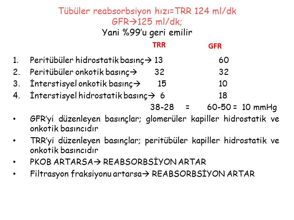 Tübüler reabsorbsiyon hızı=TRR 124 ml/dk GFR125 ml/dk; Yani %99'u geri emilir