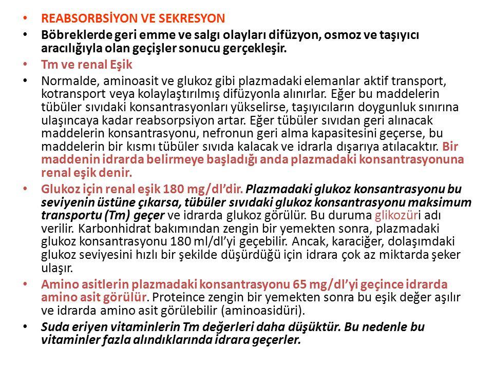 REABSORBSİYON VE SEKRESYON