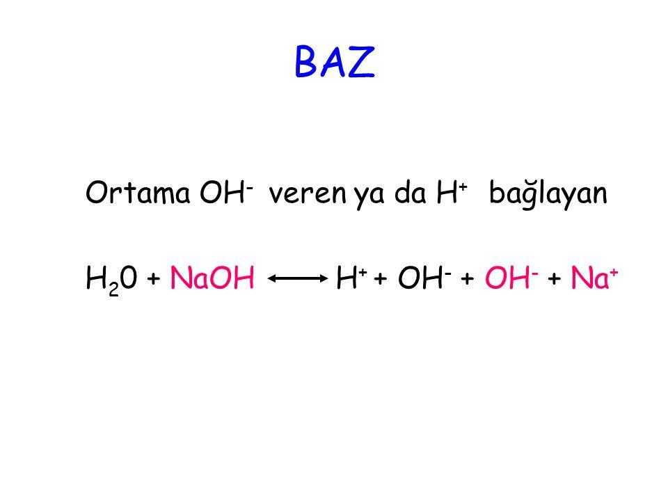BAZ Ortama OH- veren ya da H+ bağlayan H20 + NaOH H+ + OH- + OH- + Na+
