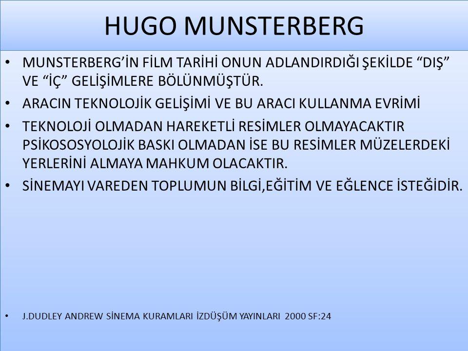 HUGO MUNSTERBERG MUNSTERBERG'İN FİLM TARİHİ ONUN ADLANDIRDIĞI ŞEKİLDE DIŞ VE İÇ GELİŞİMLERE BÖLÜNMÜŞTÜR.