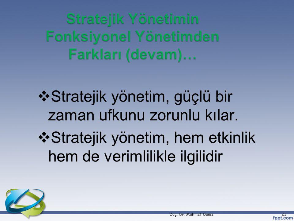 Stratejik Yönetimin Fonksiyonel Yönetimden Farkları (devam)…