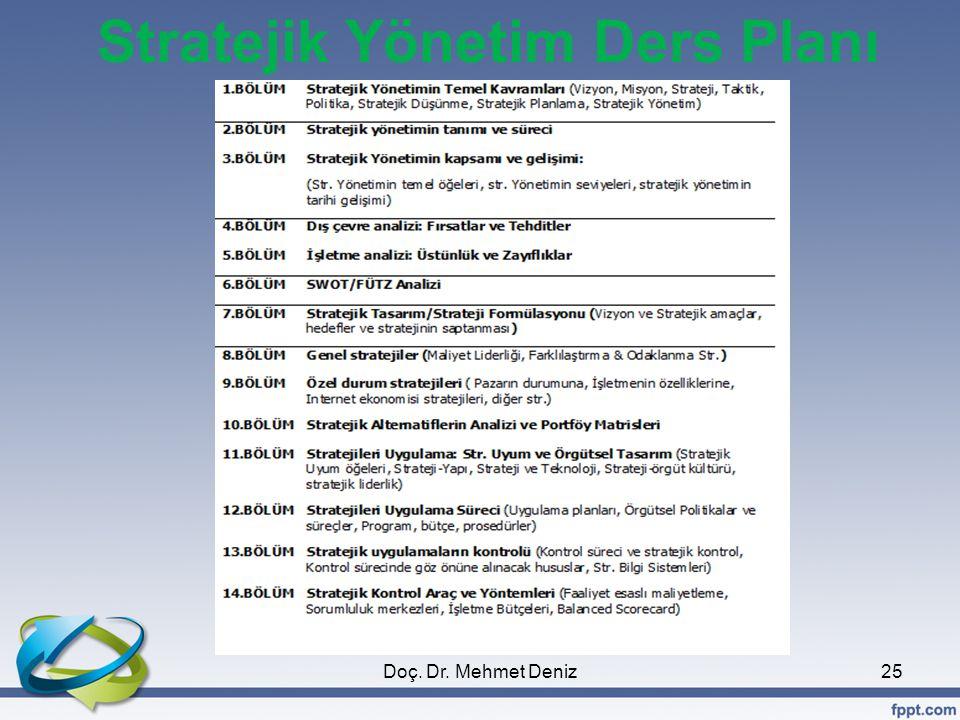 Stratejik Yönetim Ders Planı