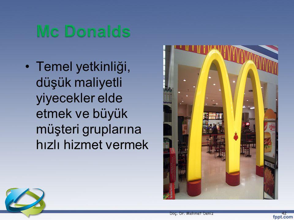 Mc Donalds Temel yetkinliği, düşük maliyetli yiyecekler elde etmek ve büyük müşteri gruplarına hızlı hizmet vermek.