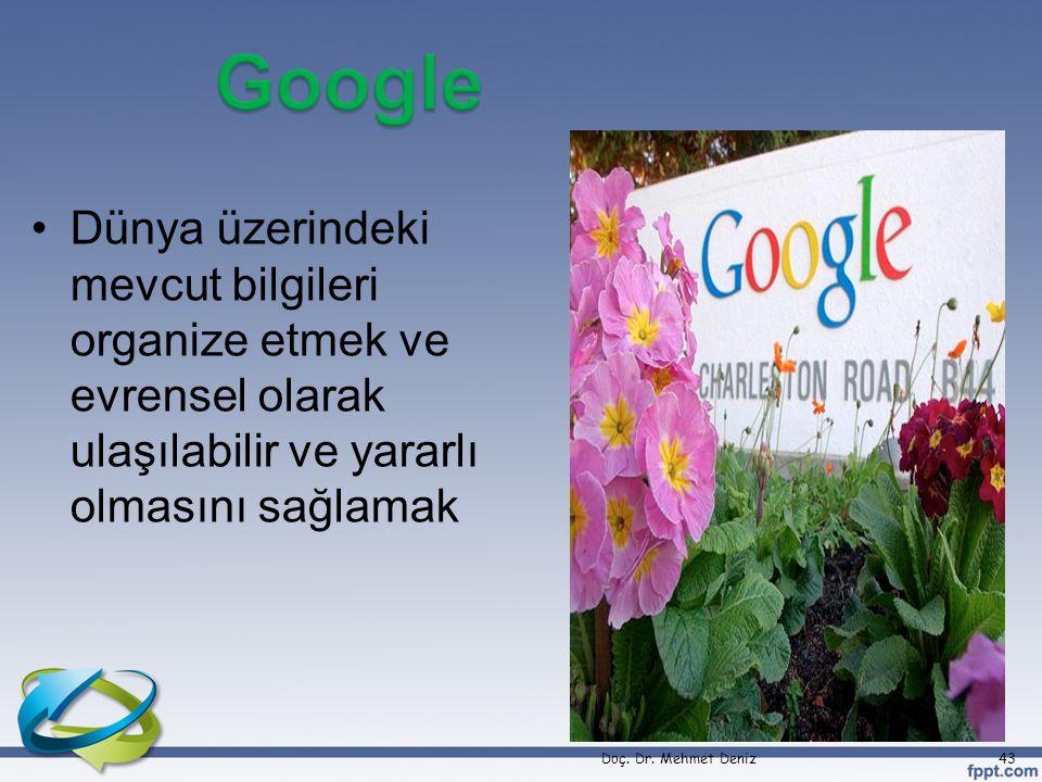Google Dünya üzerindeki mevcut bilgileri organize etmek ve evrensel olarak ulaşılabilir ve yararlı olmasını sağlamak.