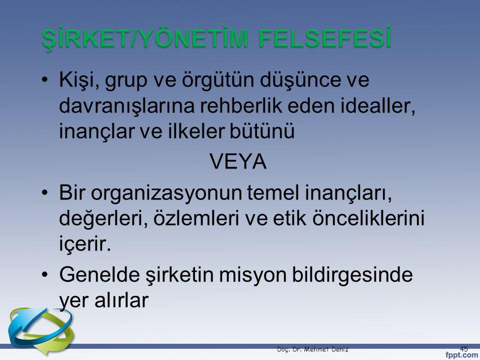 ŞİRKET/YÖNETİM FELSEFESİ