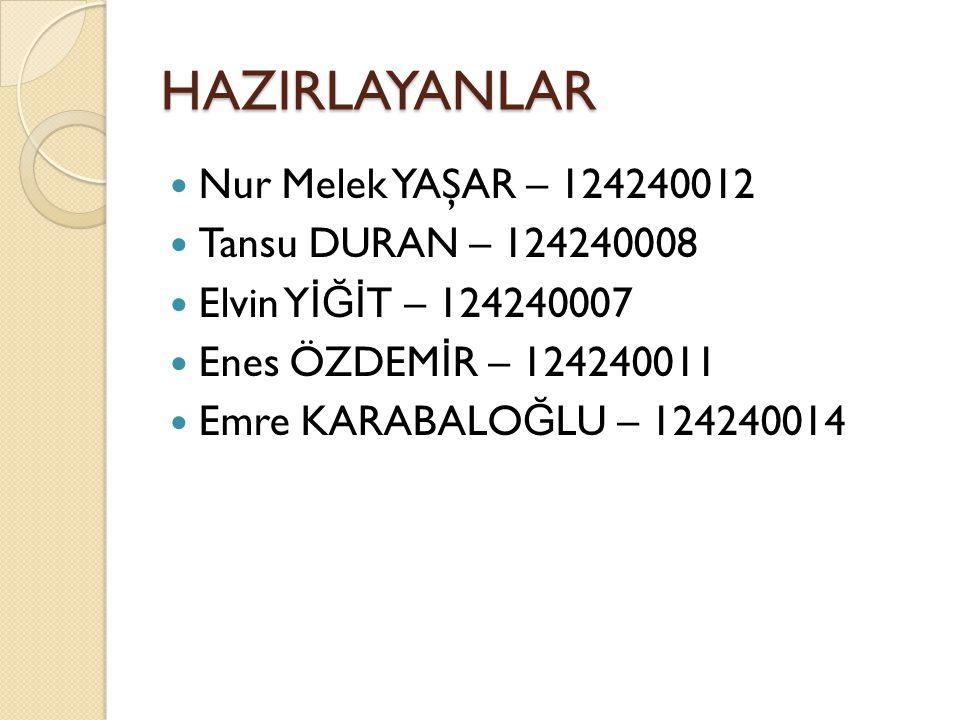 HAZIRLAYANLAR Nur Melek YAŞAR – 124240012 Tansu DURAN – 124240008