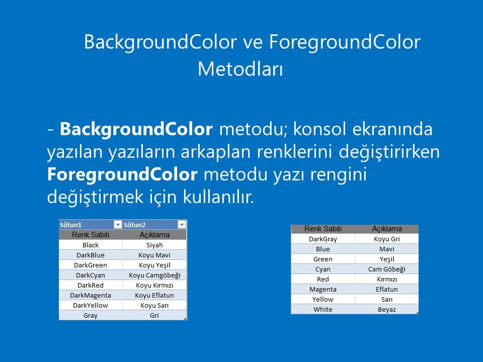 BackgroundColor ve ForegroundColor Metodları