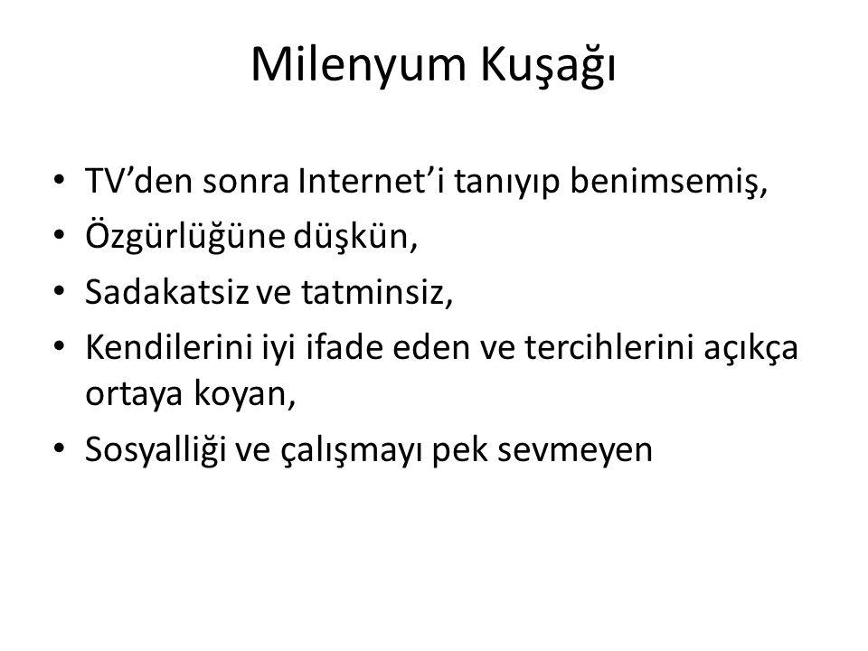 Milenyum Kuşağı TV'den sonra Internet'i tanıyıp benimsemiş,
