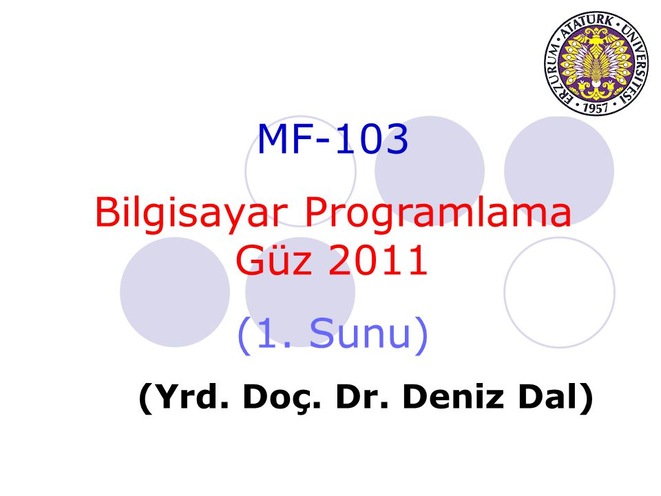 Bilgisayar Programlama Güz 2011