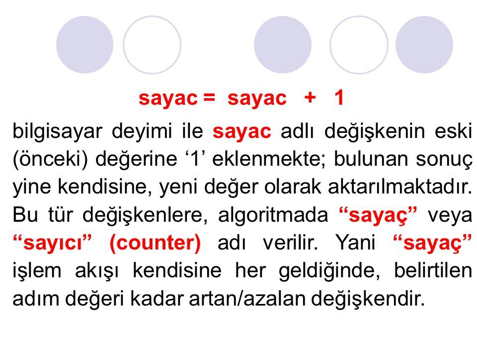 sayac = sayac + 1