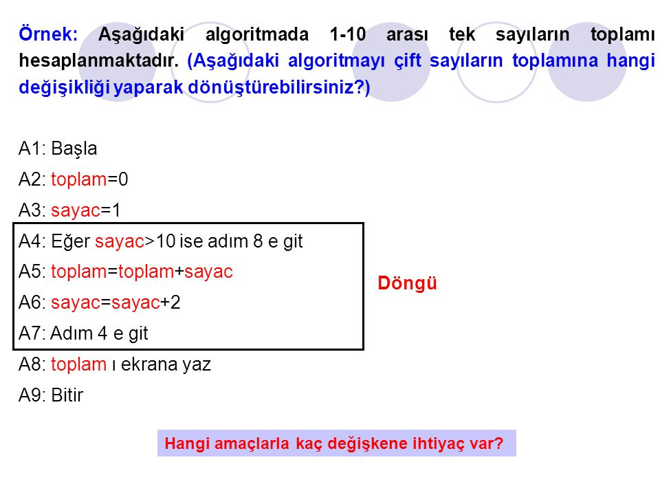 A4: Eğer sayac>10 ise adım 8 e git A5: toplam=toplam+sayac