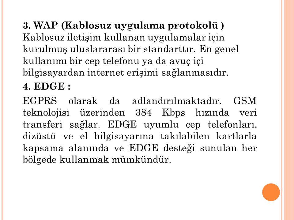 3. WAP (Kablosuz uygulama protokolü ) Kablosuz iletişim kullanan uygulamalar için kurulmuş uluslararası bir standarttır. En genel kullanımı bir cep telefonu ya da avuç içi bilgisayardan internet erişimi sağlanmasıdır.