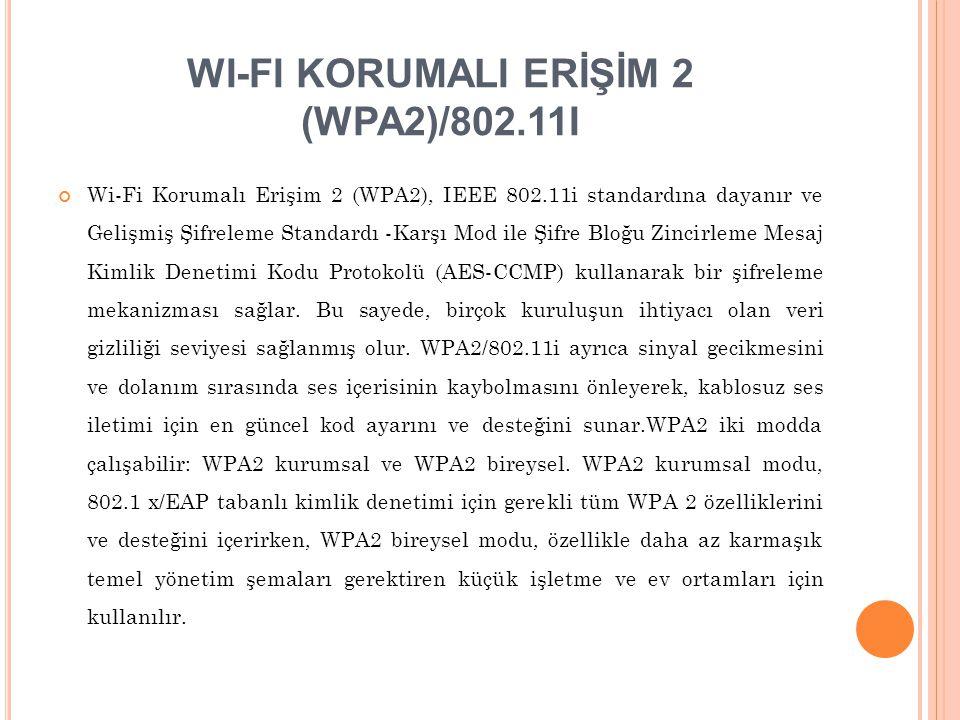 WI-FI KORUMALI ERİŞİM 2 (WPA2)/802.11I
