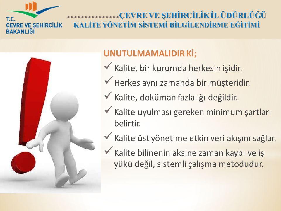 UNUTULMAMALIDIR Kİ; Kalite, bir kurumda herkesin işidir. Herkes aynı zamanda bir müşteridir. Kalite, doküman fazlalığı değildir.