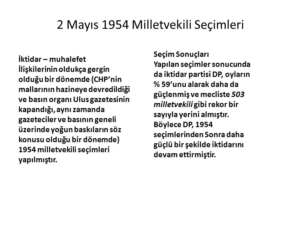 2 Mayıs 1954 Milletvekili Seçimleri