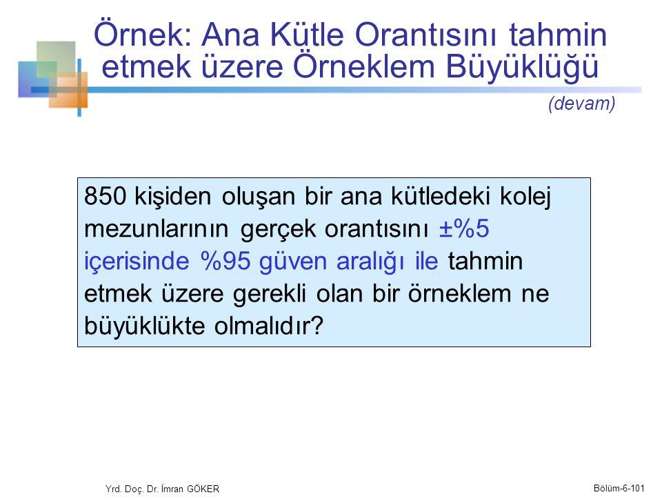 Örnek: Ana Kütle Orantısını tahmin etmek üzere Örneklem Büyüklüğü