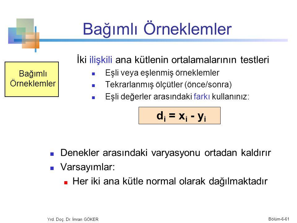 Bağımlı Örneklemler di = xi - yi