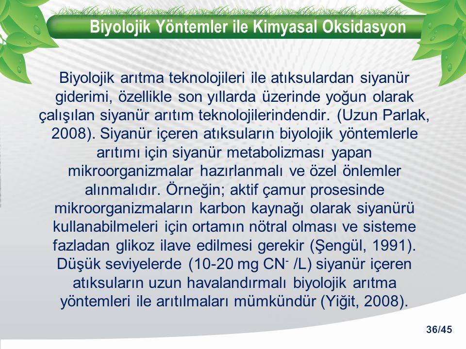 Biyolojik Yöntemler ile Kimyasal Oksidasyon