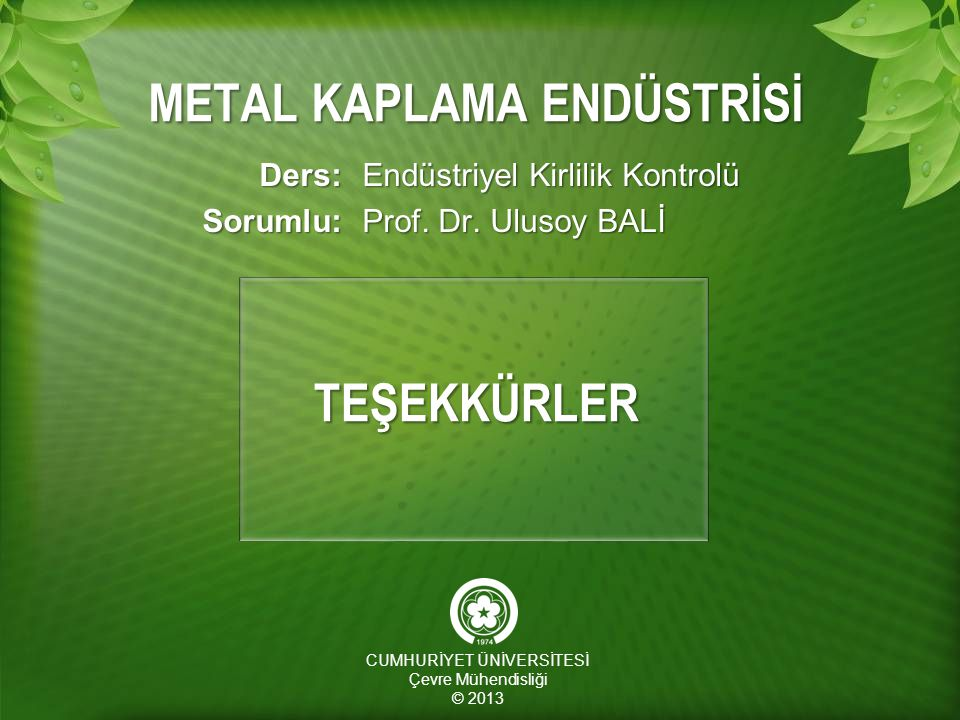 METAL KAPLAMA ENDÜSTRİSİ