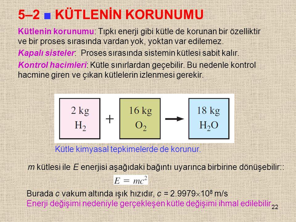 5–2 ■ KÜTLENİN KORUNUMU Kütlenin korunumu: Tıpkı enerji gibi kütle de korunan bir özelliktir ve bir proses sırasında vardan yok, yoktan var edilemez.