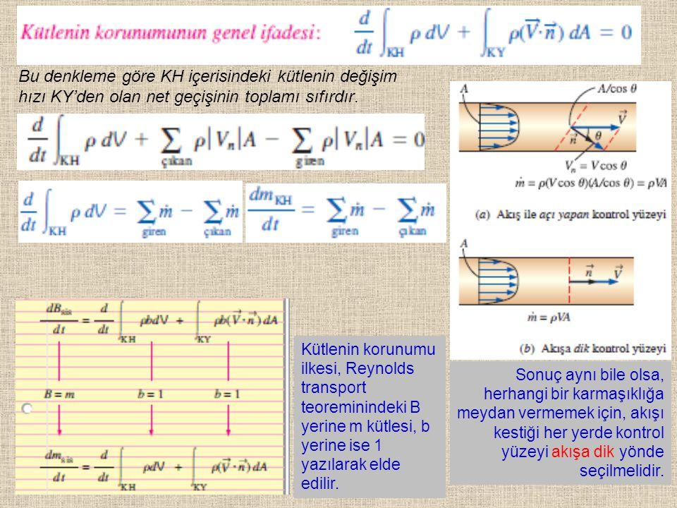 Bu denkleme göre KH içerisindeki kütlenin değişim hızı KY'den olan net geçişinin toplamı sıfırdır.