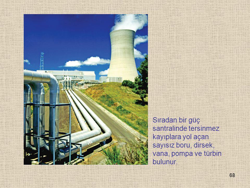 Sıradan bir güç santralinde tersinmez kayıplara yol açan sayısız boru, dirsek, vana, pompa ve türbin bulunur.