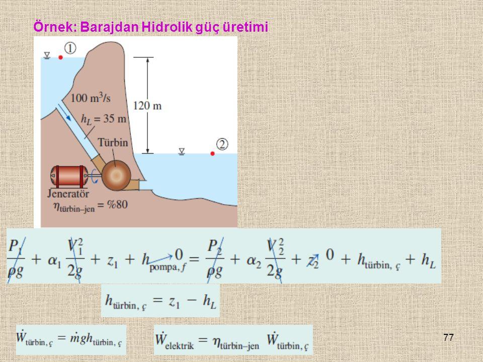 Örnek: Barajdan Hidrolik güç üretimi