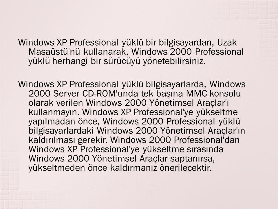 Windows XP Professional yüklü bir bilgisayardan, Uzak Masaüstü nü kullanarak, Windows 2000 Professional yüklü herhangi bir sürücüyü yönetebilirsiniz.