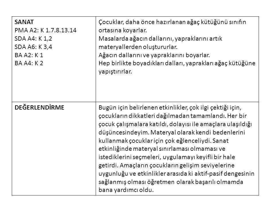 SANAT PMA A2: K 1.7.8.13.14. SDA A4: K 1,2. SDA A6: K 3,4. BA A2: K 1. BA A4: K 2.