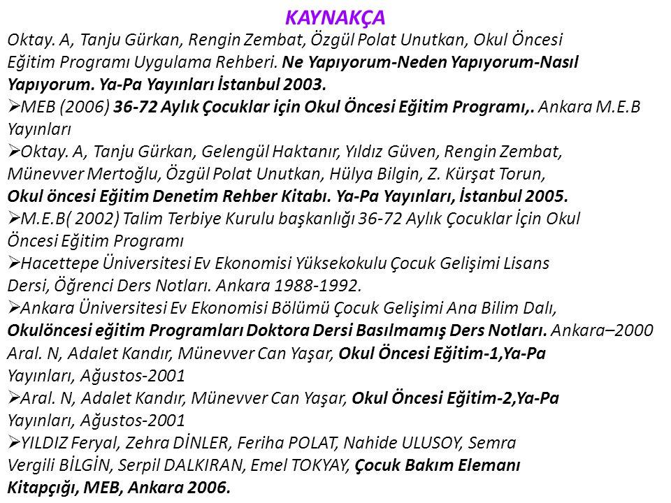 KAYNAKÇA Oktay. A, Tanju Gürkan, Rengin Zembat, Özgül Polat Unutkan, Okul Öncesi.