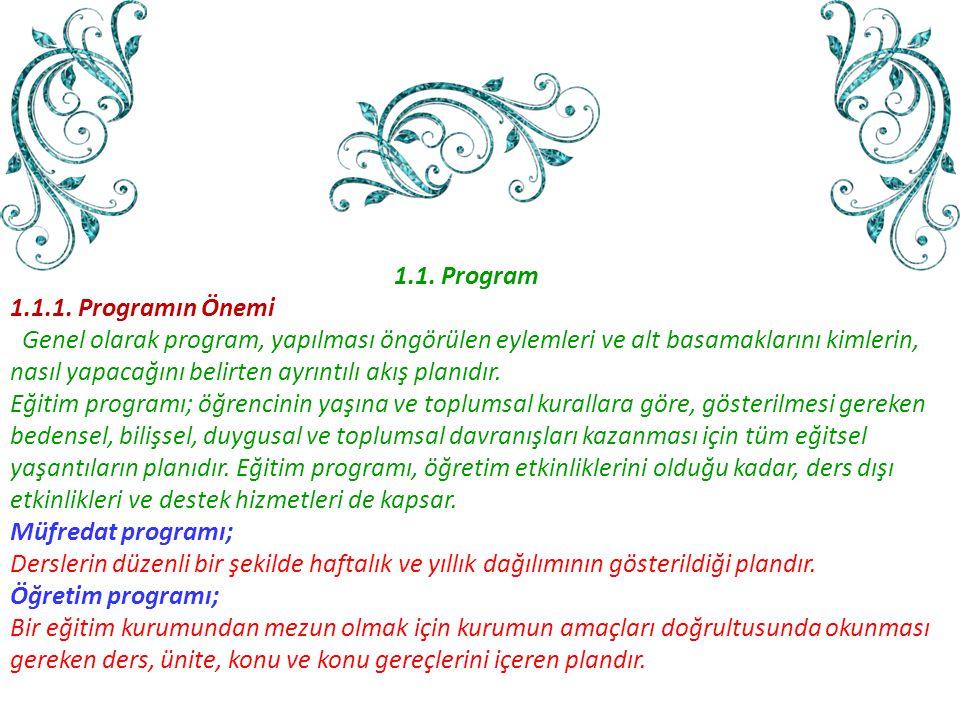 1.1. Program 1.1.1. Programın Önemi. Genel olarak program, yapılması öngörülen eylemleri ve alt basamaklarını kimlerin,