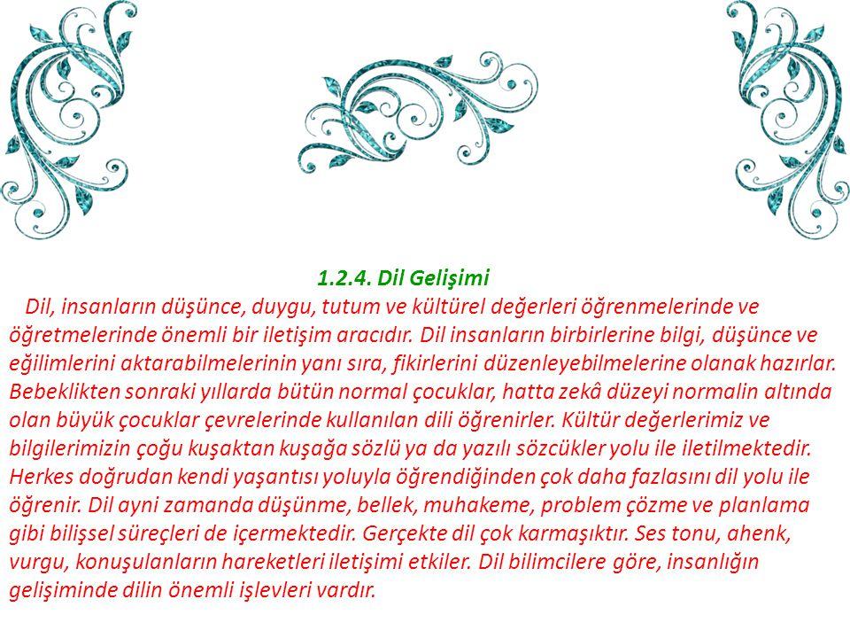 1.2.4. Dil Gelişimi Dil, insanların düşünce, duygu, tutum ve kültürel değerleri öğrenmelerinde ve.