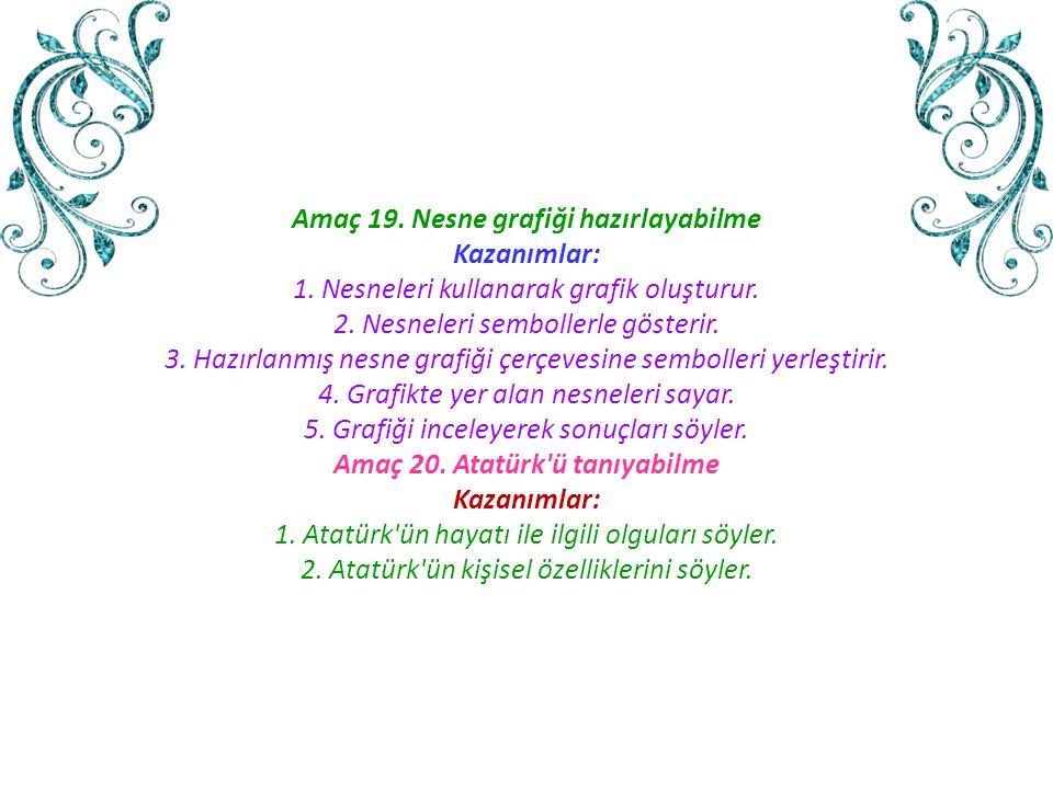Amaç 19. Nesne grafiği hazırlayabilme Amaç 20. Atatürk ü tanıyabilme