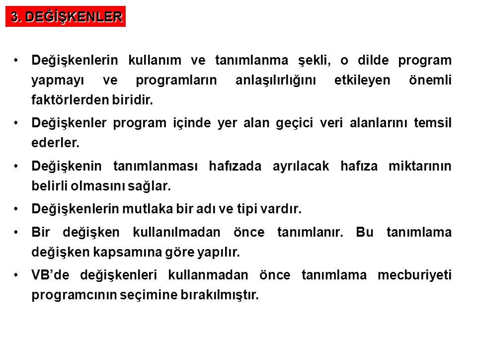 3. DEĞİŞKENLER
