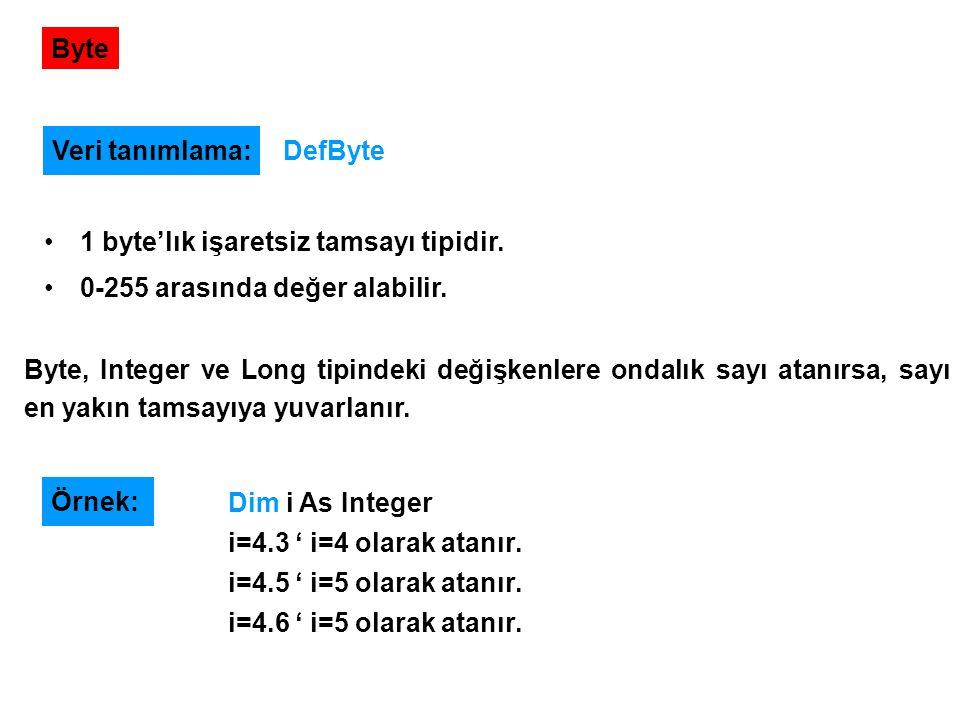 Byte Veri tanımlama: DefByte. 1 byte'lık işaretsiz tamsayı tipidir. 0-255 arasında değer alabilir.
