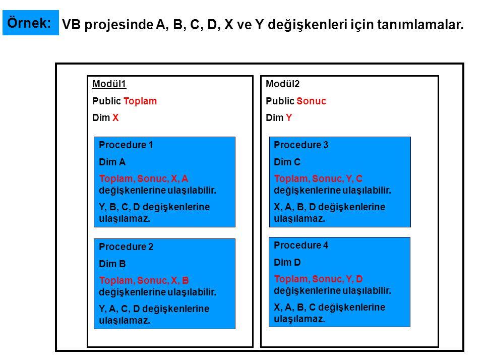 VB projesinde A, B, C, D, X ve Y değişkenleri için tanımlamalar.