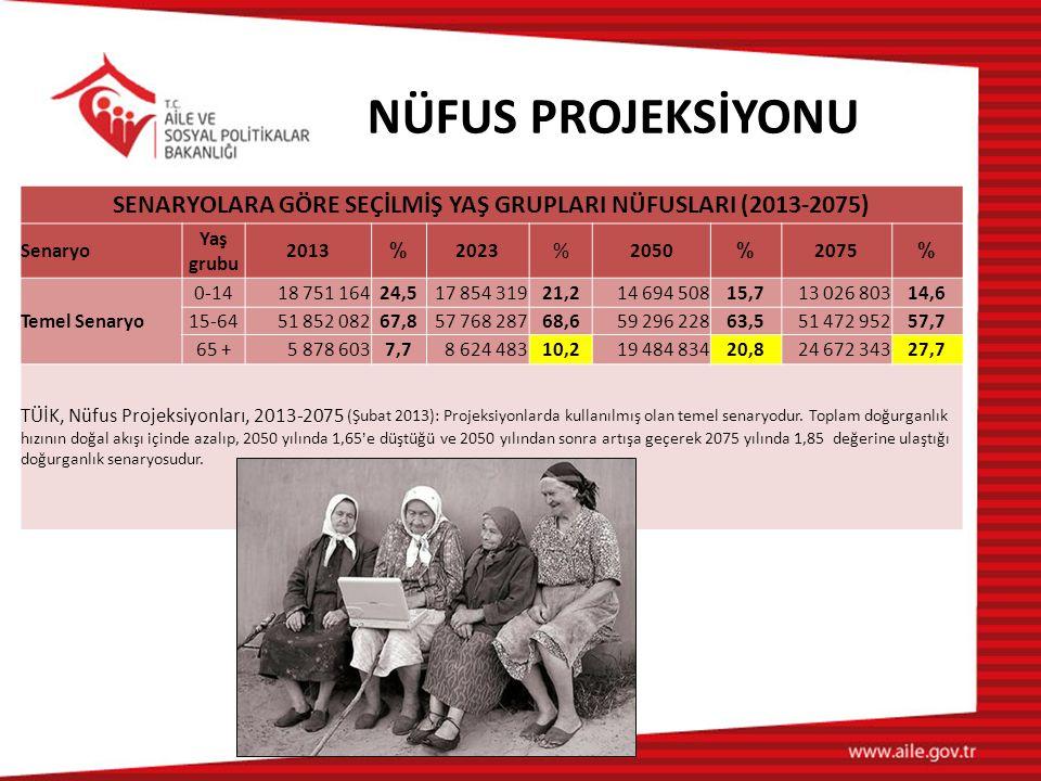 SENARYOLARA GÖRE SEÇİLMİŞ YAŞ GRUPLARI NÜFUSLARI (2013-2075)