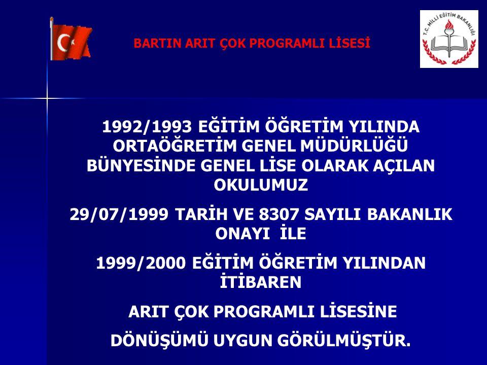 29/07/1999 TARİH VE 8307 SAYILI BAKANLIK ONAYI İLE
