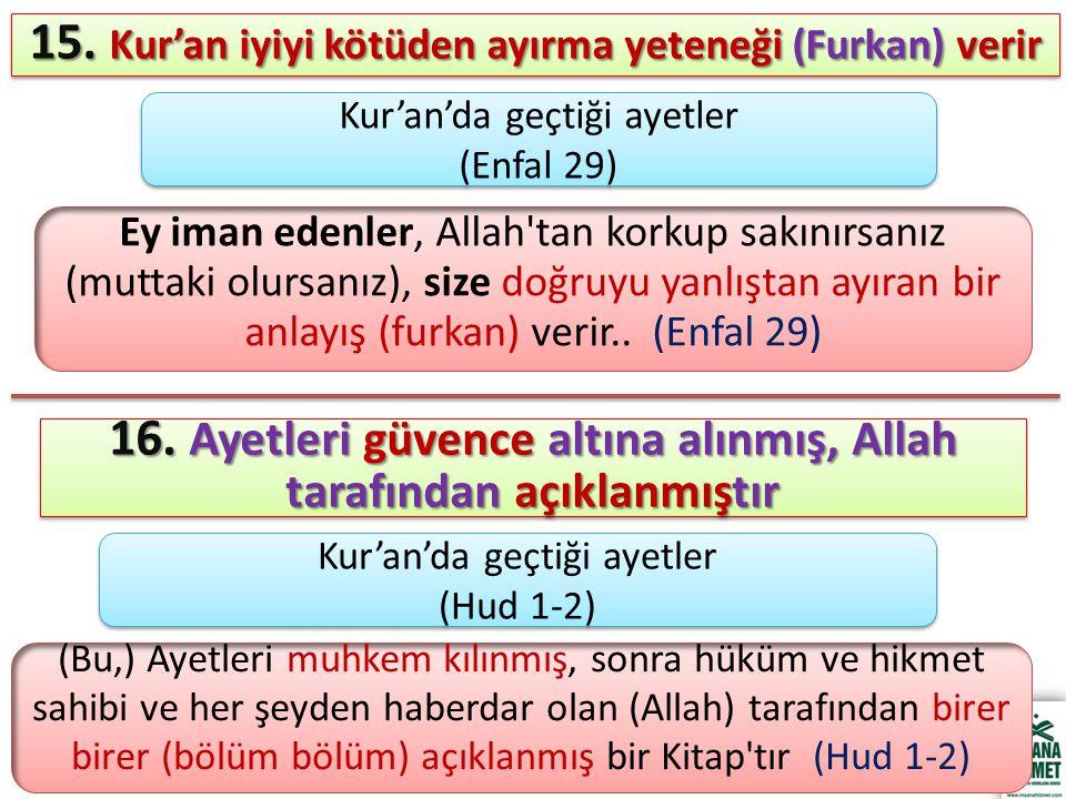 15. Kur'an iyiyi kötüden ayırma yeteneği (Furkan) verir