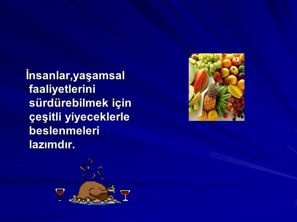 İnsanlar,yaşamsal faaliyetlerini sürdürebilmek için çeşitli yiyeceklerle beslenmeleri lazımdır.