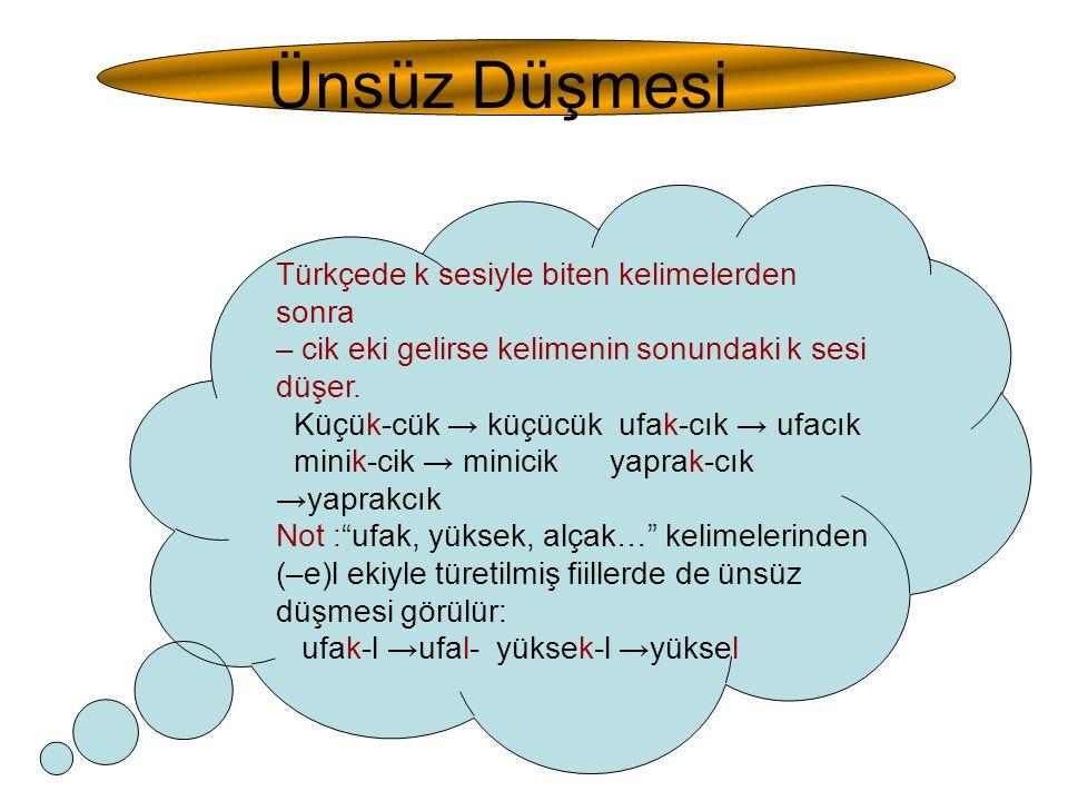 Ünsüz Düşmesi Türkçede k sesiyle biten kelimelerden sonra