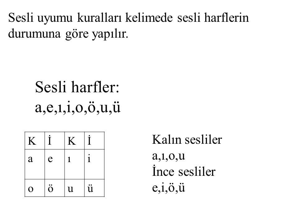 Sesli harfler: a,e,ı,i,o,ö,u,ü