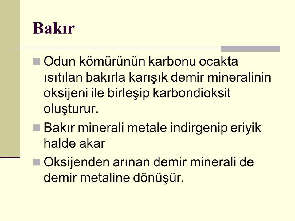 Bakır Odun kömürünün karbonu ocakta ısıtılan bakırla karışık demir mineralinin oksijeni ile birleşip karbondioksit oluşturur.