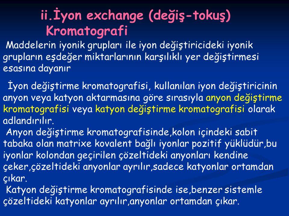 ii.İyon exchange (değiş-tokuş) Kromatografi