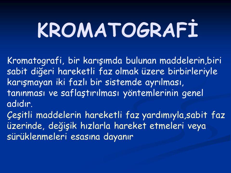 KROMATOGRAFİ Kromatografi, bir karışımda bulunan maddelerin,biri