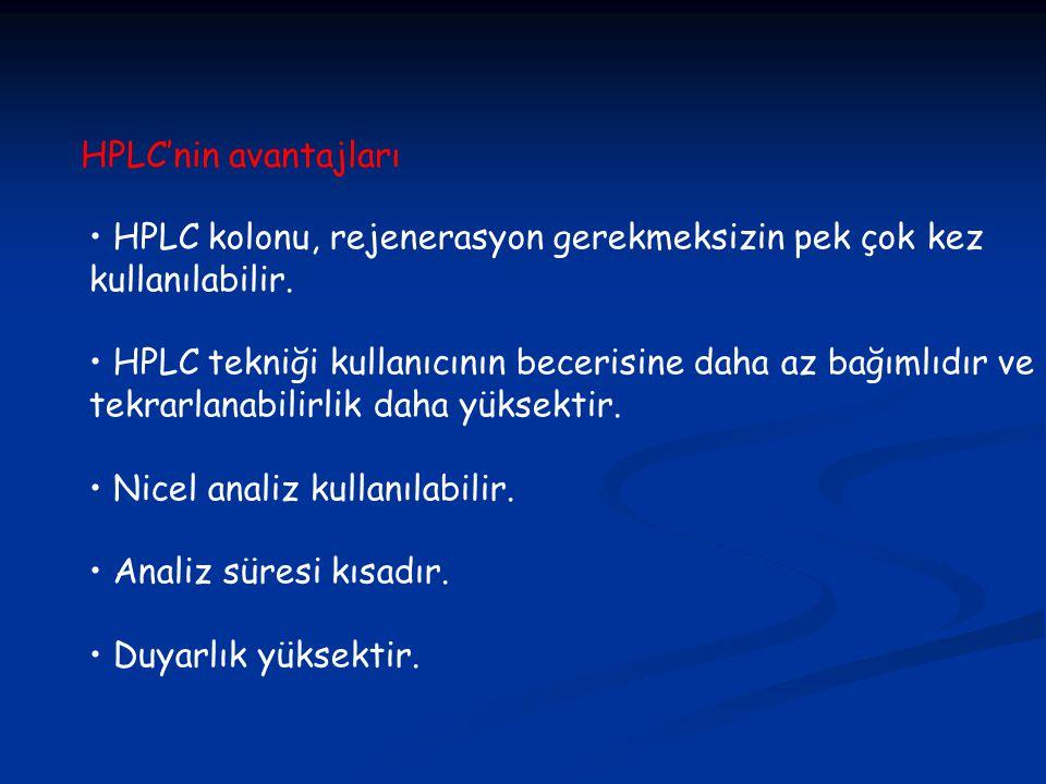 HPLC'nin avantajları • HPLC kolonu, rejenerasyon gerekmeksizin pek çok kez. kullanılabilir.