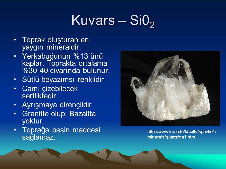 Kuvars – Si02 Toprak oluşturan en yaygın mineraldir.